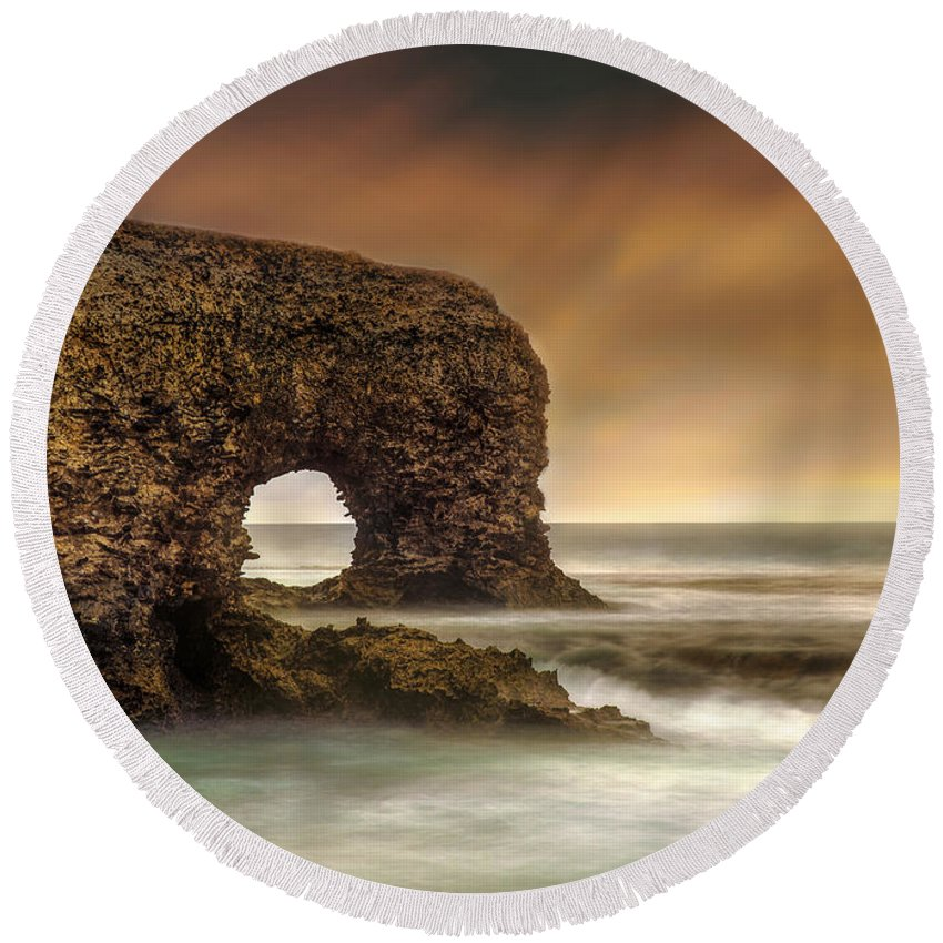 Round Beach Towel featuring the photograph The Sky And The Arch by Hugh Walker