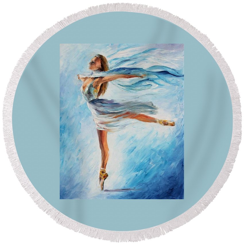 Afremov Round Beach Towel featuring the painting The Sky Dance by Leonid Afremov