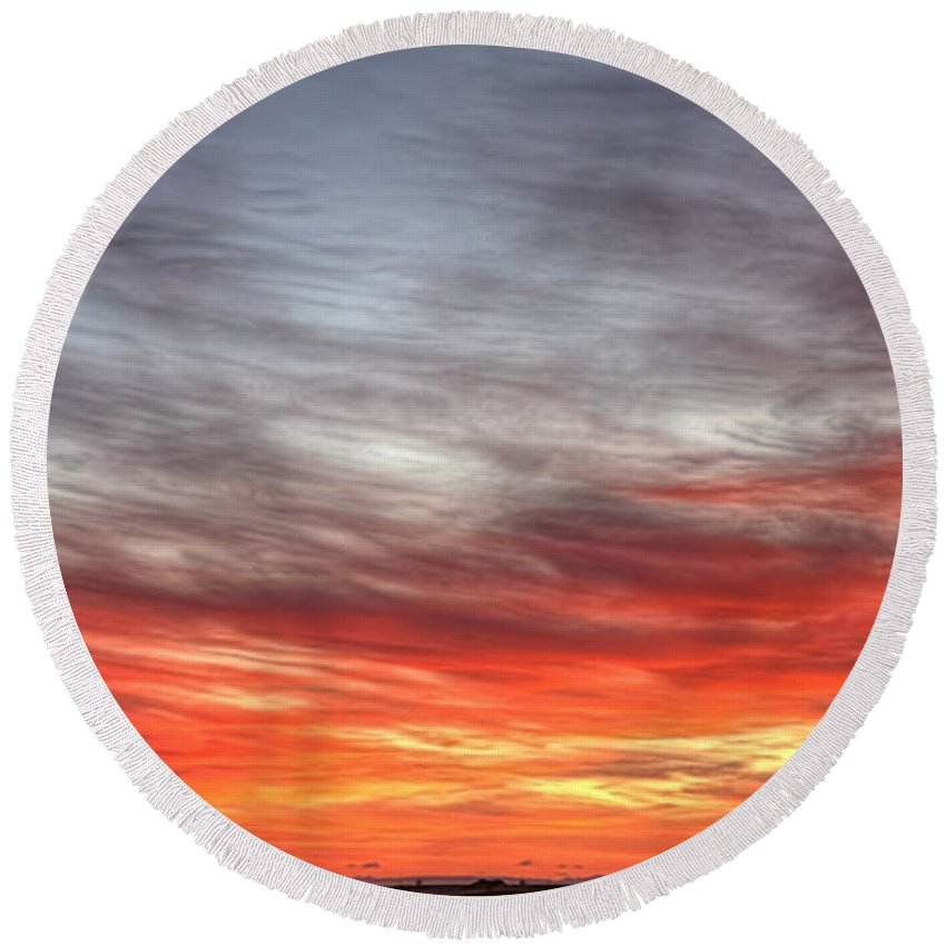 Prairie Round Beach Towel featuring the photograph The Sky Is Smoking Hot In Widescape by James Anderson