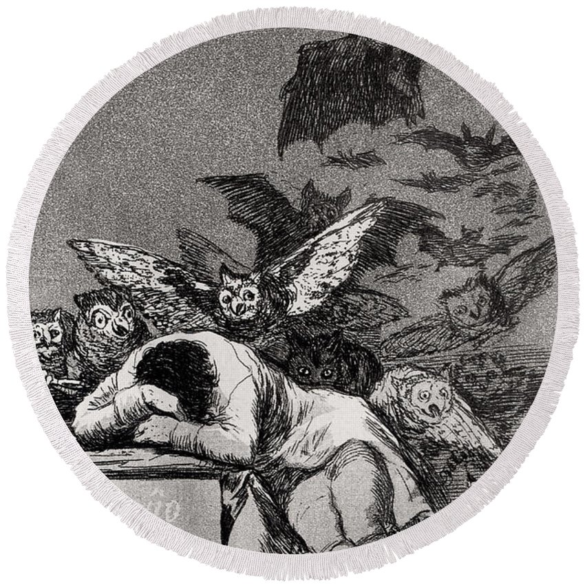 The Round Beach Towel featuring the painting The Sleep Of Reason Produces Monsters by Goya
