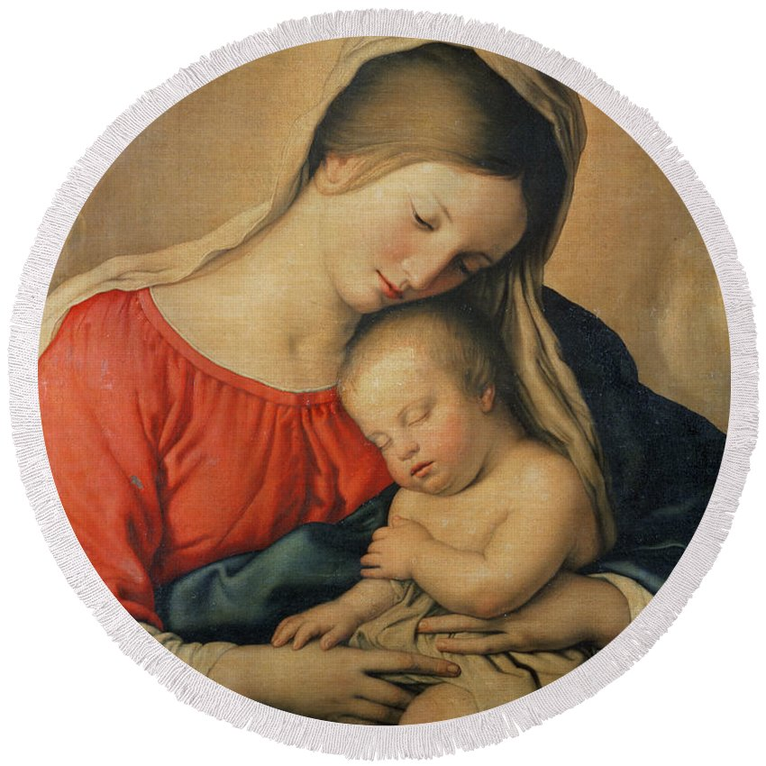 Mary Round Beach Towel featuring the painting The Sleeping Christ Child by Il Sassoferrato