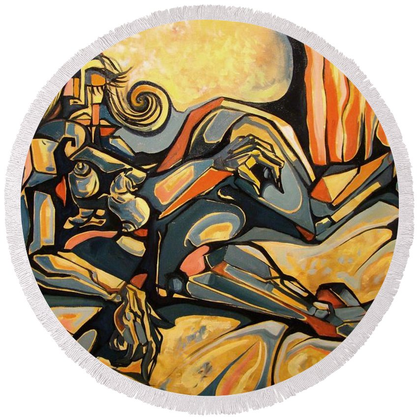 Surrealism Round Beach Towel featuring the painting The Sleeping Muse by Darwin Leon