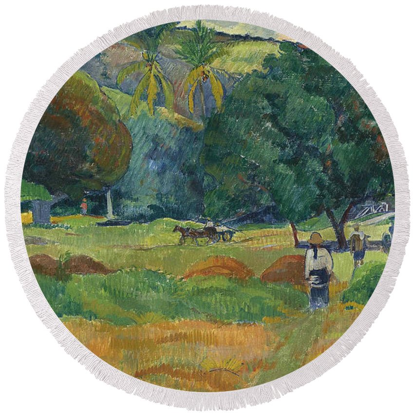French Art Round Beach Towel featuring the painting The Small Valley by Paul Gauguin