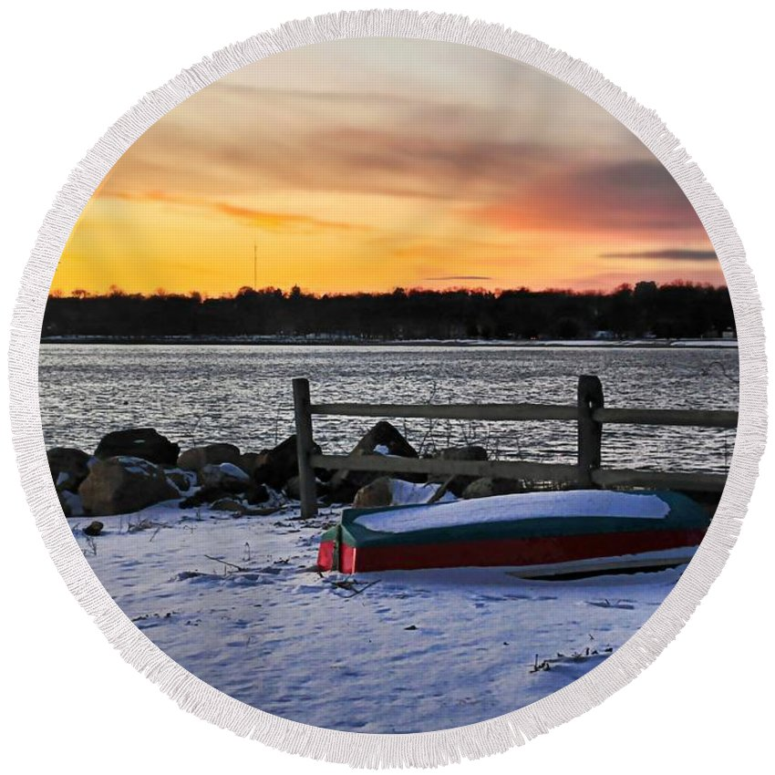 Snowscape Round Beach Towel featuring the photograph The Snow Boat by Diana Angstadt