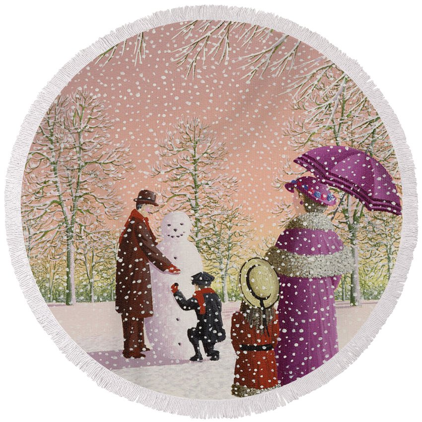 Snowman; Snow; Snowing; Winter; Cold; Woman; Umbrella; Parasol; Child; Children; Man; Playing; Outside; Landscape; Tree Round Beach Towel featuring the painting The Snowman by Peter Szumowski