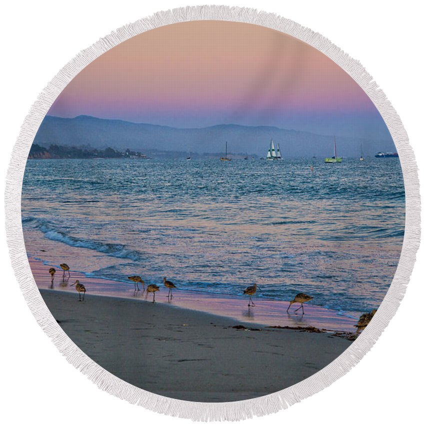 Santa Barbara Round Beach Towel featuring the photograph The Soft Side Of Sunset by Lynn Bauer