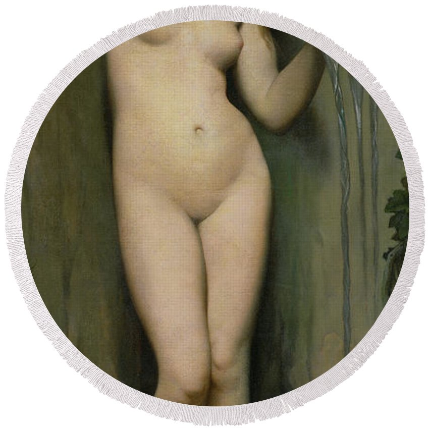 Nude Round Beach Towel featuring the painting The Source by Ingres