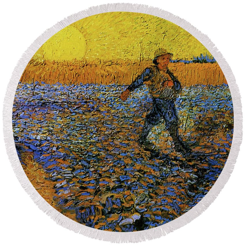 Vincent Van Gogh Round Beach Towel featuring the painting The Sower by Van Gogh