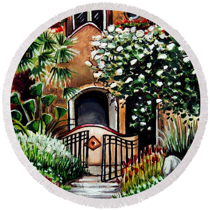 Gardens Round Beach Towel featuring the painting The Spanish Gardens by Elizabeth Robinette Tyndall