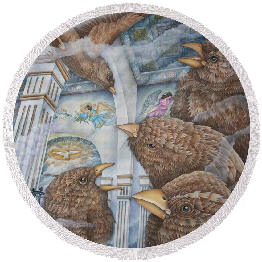 Birds Round Beach Towel featuring the painting The Sparrows Of San Elizario by Jeniffer Stapher-Thomas
