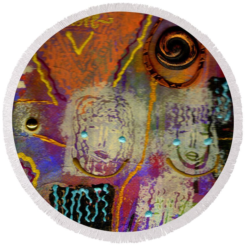 Clay Round Beach Towel featuring the mixed media The Spiral Of Life by Angela L Walker