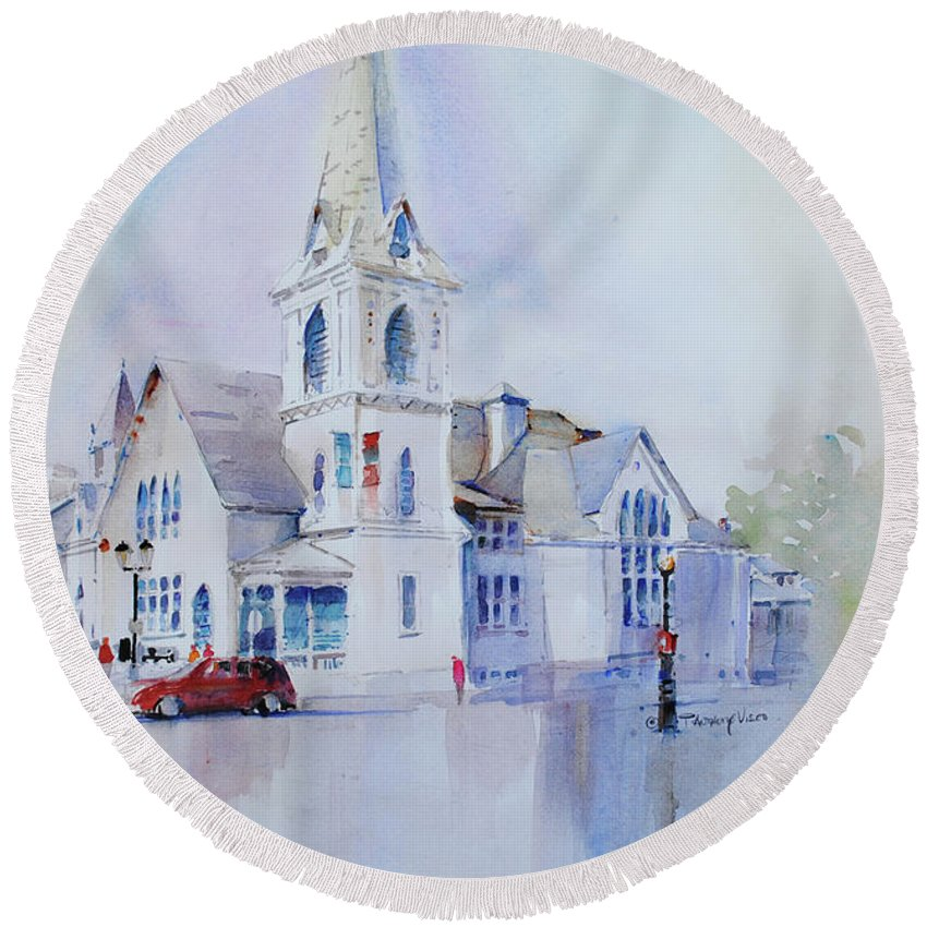 Visco Round Beach Towel featuring the painting The Spire Center by P Anthony Visco