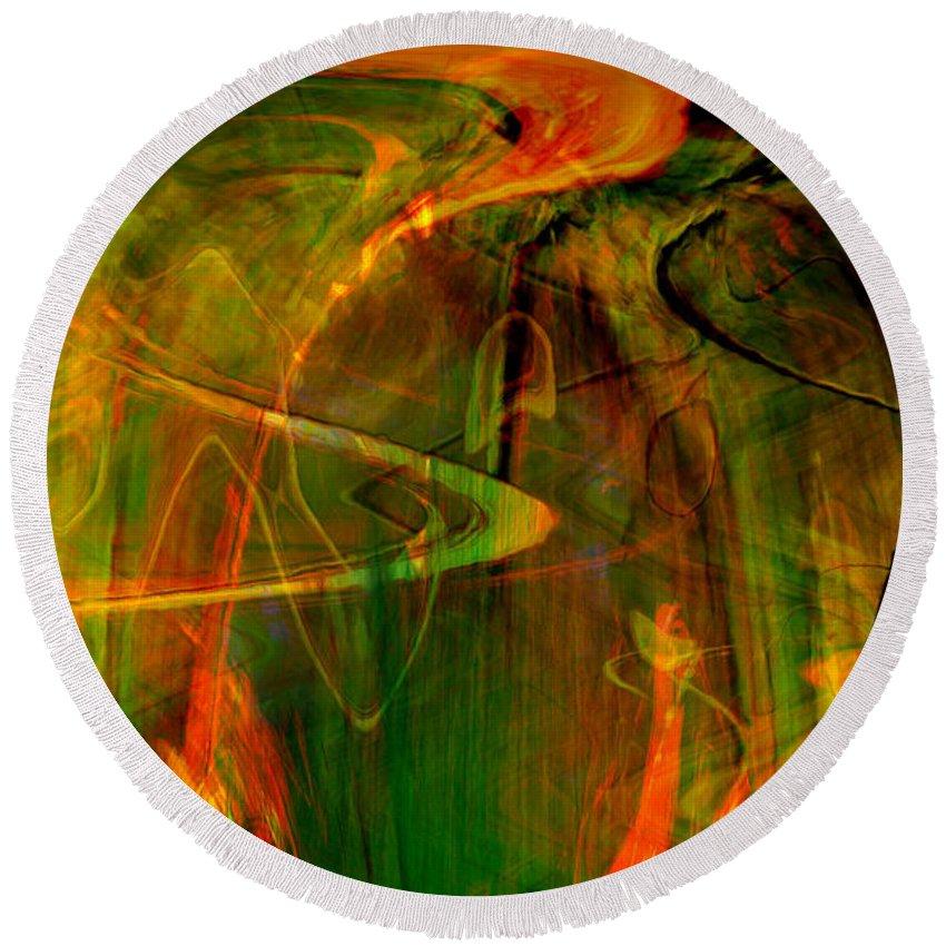 Abstract Digital Abstract Digital Painting Digital Art Design Dark Art Vibrant Art Yellow Round Beach Towel featuring the digital art The Spirit Glows by Linda Sannuti