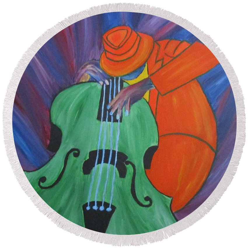Music Round Beach Towel featuring the painting The Spirit by Mya Soliman