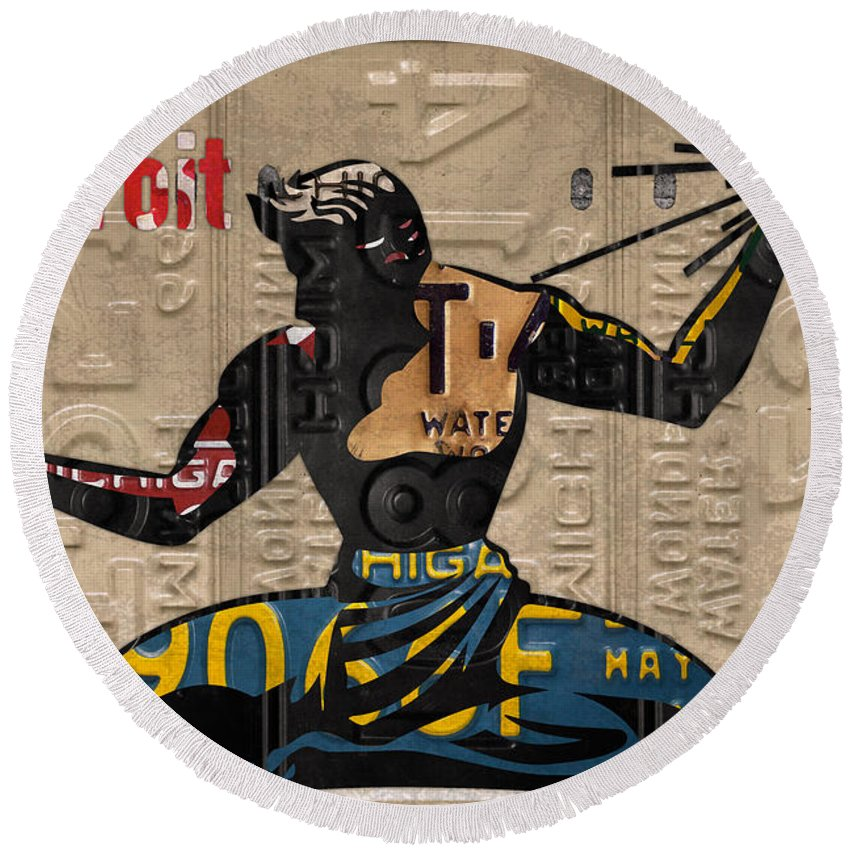 The Spirit Of Detroit Round Beach Towel featuring the mixed media The Spirit Of Detroit Statue Recycled Michigan License Plate Art Homage by Design Turnpike
