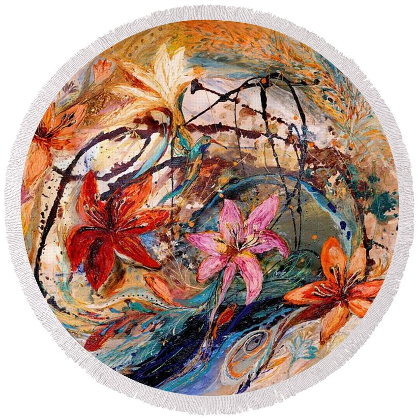 Modern Jewish Art Round Beach Towel featuring the painting The Splash Of Life 17. Humming-bird And Exotic Flowers by Elena Kotliarker