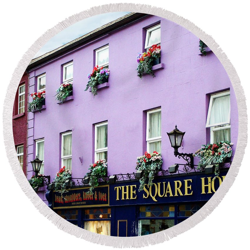 Irish Round Beach Towel featuring the photograph The Square House Athlone Ireland by Teresa Mucha