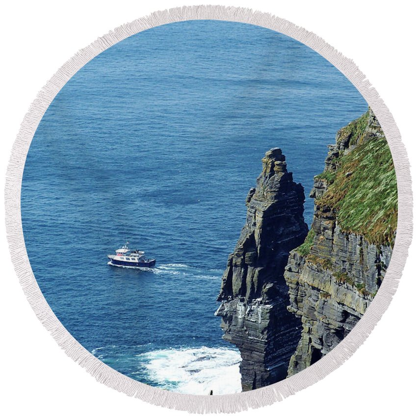 Irish Round Beach Towel featuring the photograph The Stack And The Jack B Cliffs Of Moher Ireland by Teresa Mucha