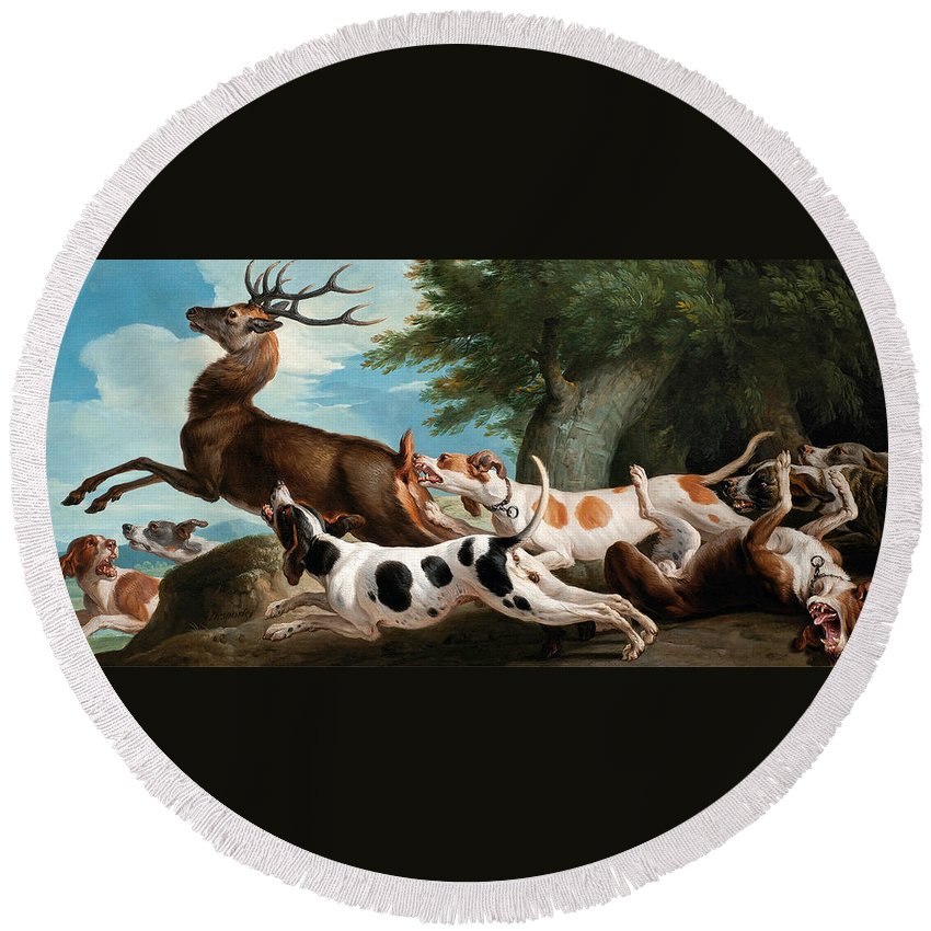 Alexandre-francois Desportes Round Beach Towel featuring the painting The Stag Hunt by Alexandre-Francois Desportes