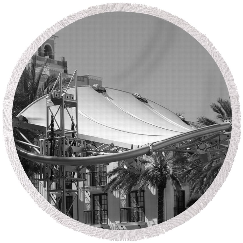Black And White Round Beach Towel featuring the photograph The Stage by Rob Hans
