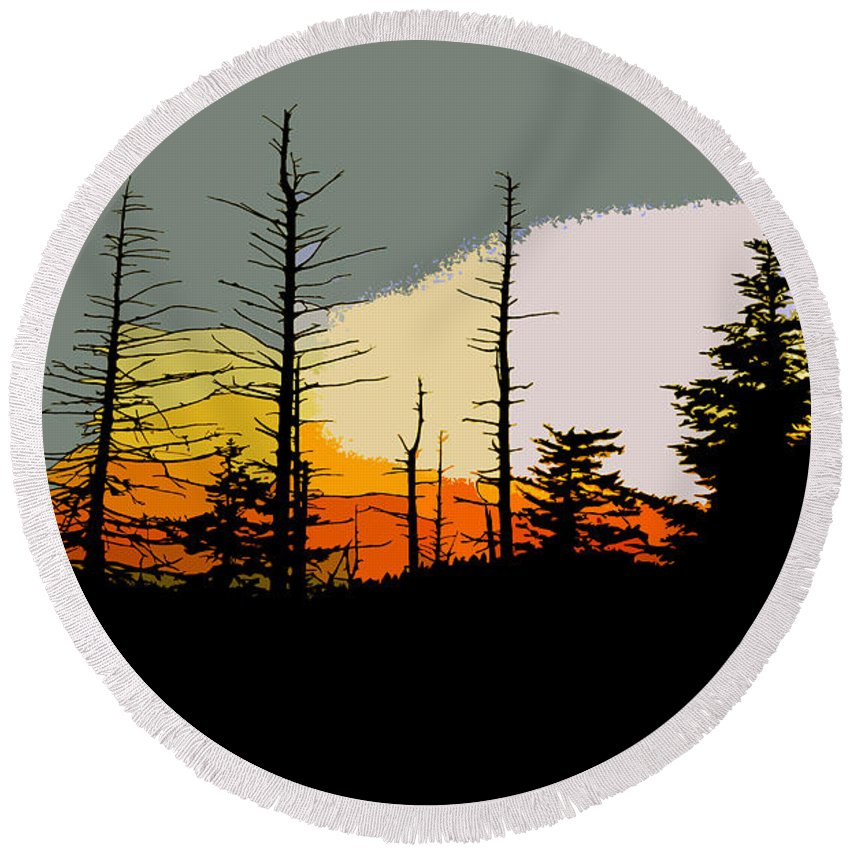 Forest Round Beach Towel featuring the painting The Stained Glass Forest by David Lee Thompson