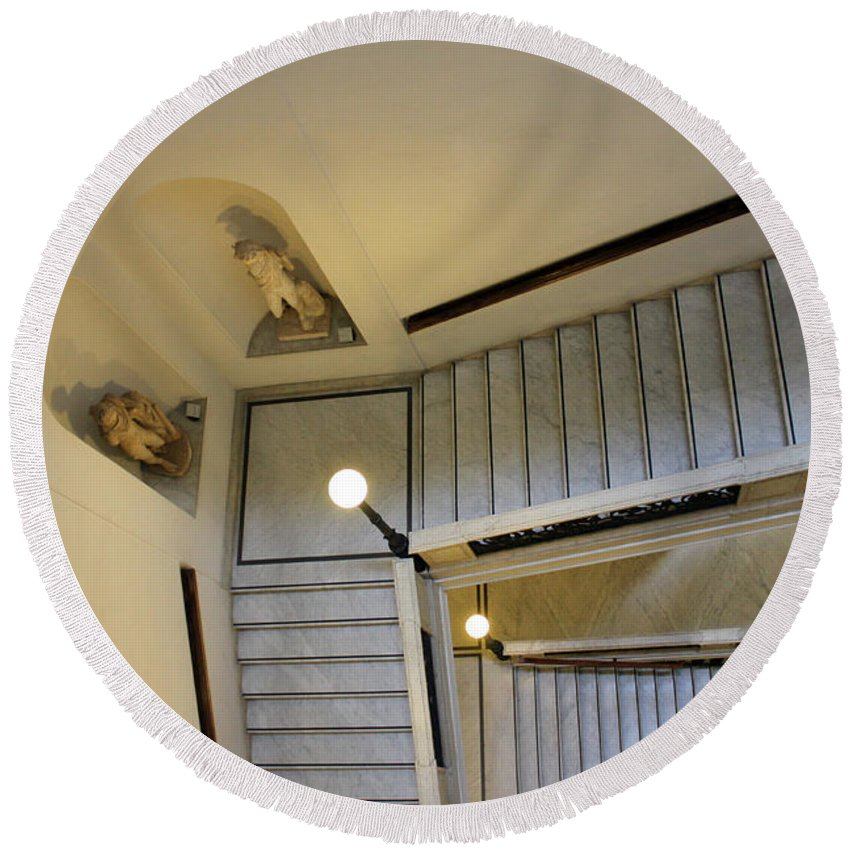 Rome Round Beach Towel featuring the photograph The Stairs To Museum by Munir Alawi