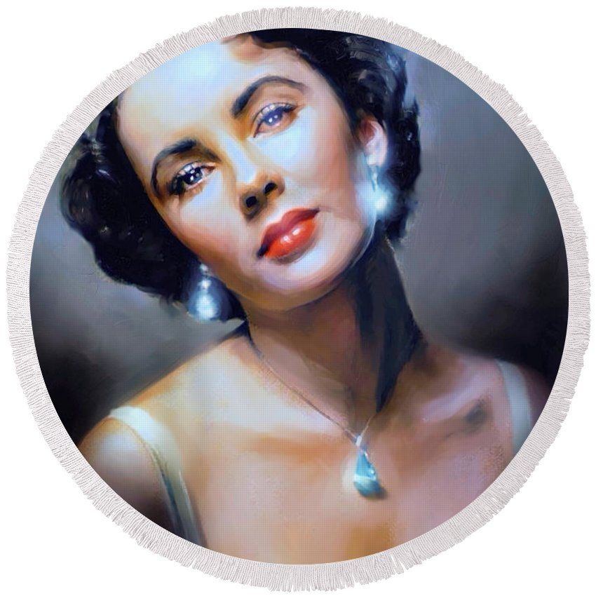 Liz Taylor Round Beach Towel featuring the painting The Starlet by Dave Luebbert