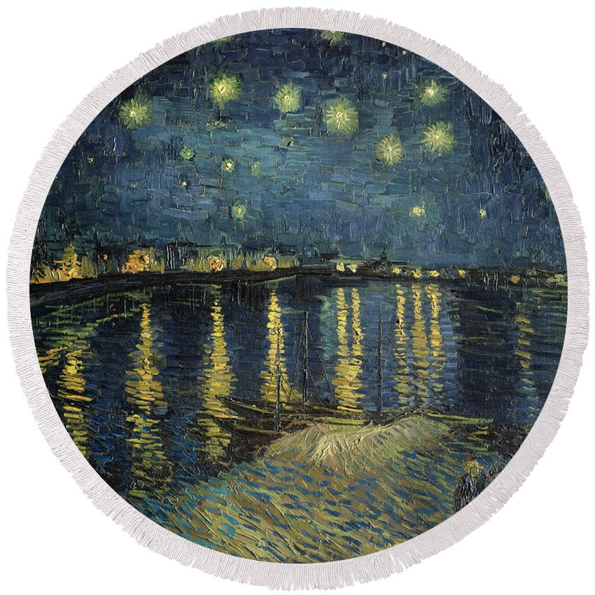 The Round Beach Towel featuring the painting The Starry Night by Vincent Van Gogh