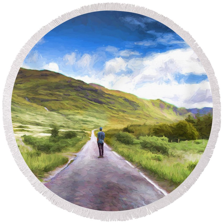 Landscape Round Beach Towel featuring the painting The Start Of A Journey by Elaine Plesser