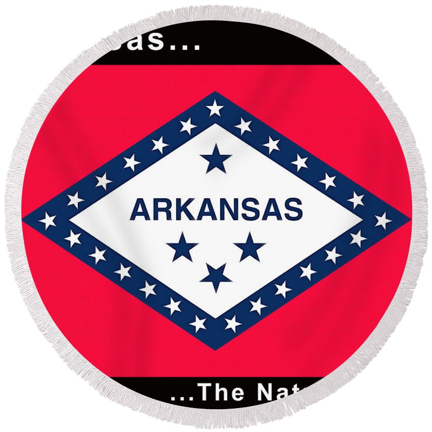 Floyd Snyder Round Beach Towel featuring the painting The State Flag Of Arkansas by Floyd Snyder