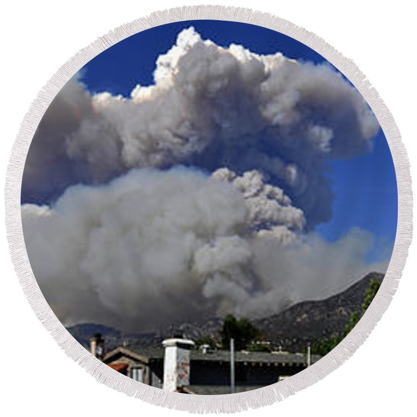 Clay Round Beach Towel featuring the photograph The Station Fire Panoramic by Clayton Bruster