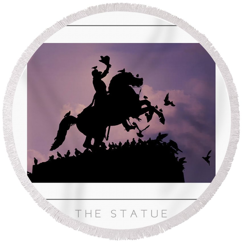Statue Round Beach Towel featuring the photograph The Statue Poster by Mike Nellums