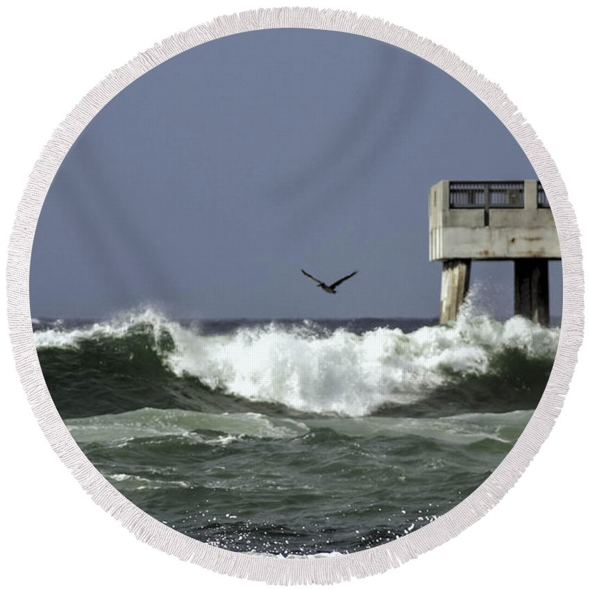 Hurricane Round Beach Towel featuring the photograph The Storm by Debra Forand