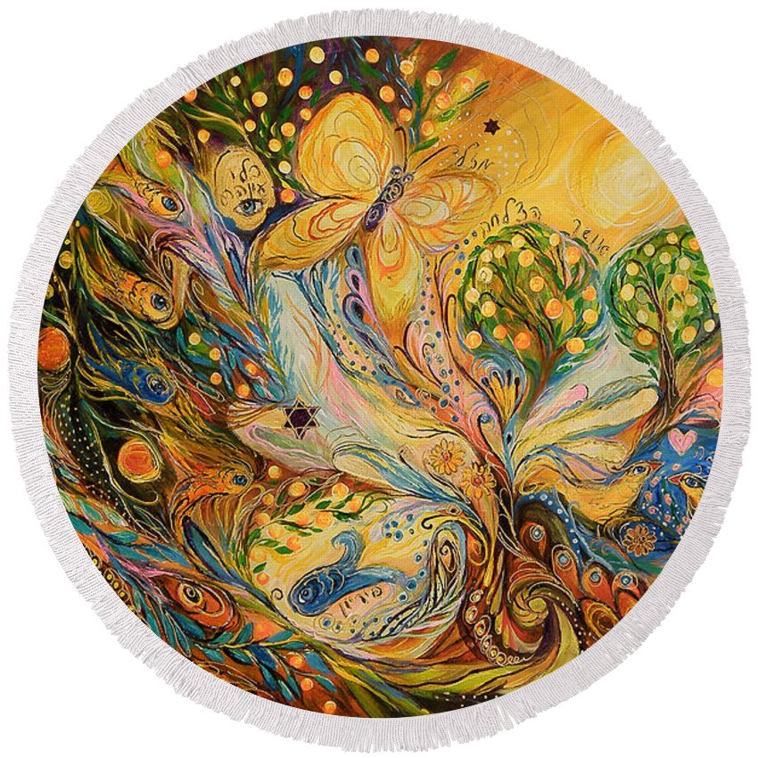 Original Round Beach Towel featuring the painting The Story Of The Orange Garden by Elena Kotliarker