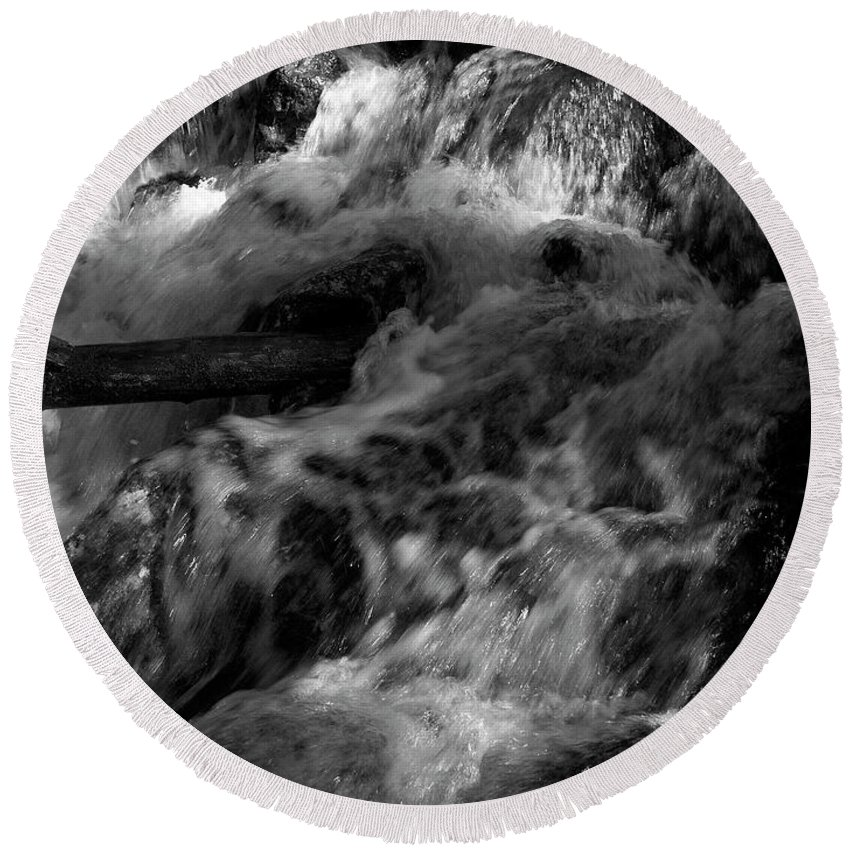 Lehtokukka Round Beach Towel featuring the photograph The Stream In Bw by Jouko Lehto
