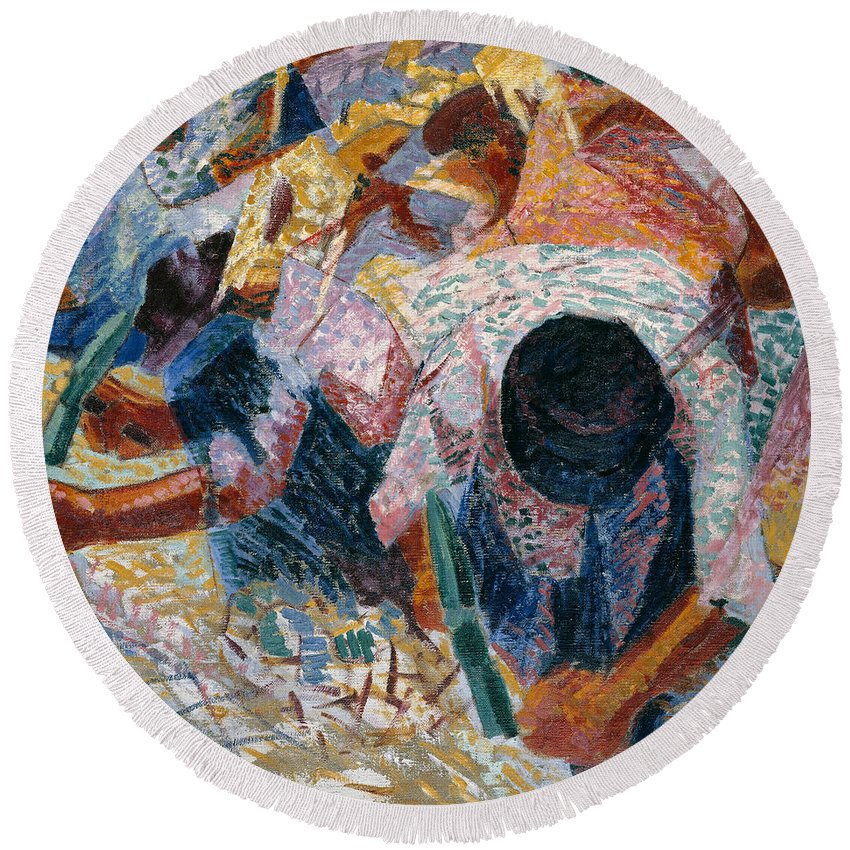 Umberto Boccioni Round Beach Towel featuring the painting The Street Pavers by Umberto Boccioni