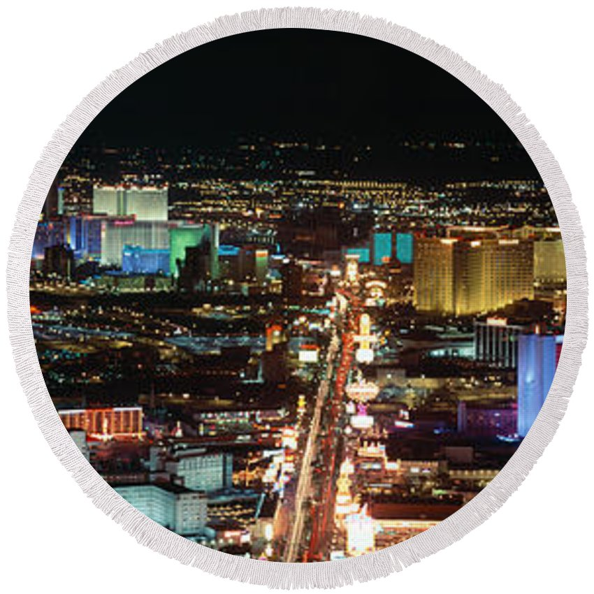 Photography Round Beach Towel featuring the photograph The Strip At Las Vegas,nevada by Panoramic Images