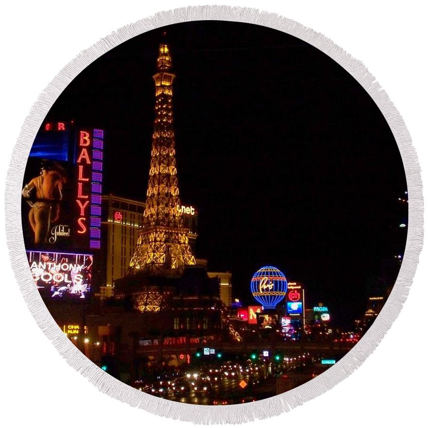 Vegas Round Beach Towel featuring the photograph The Strip At Night 1 by Anita Burgermeister