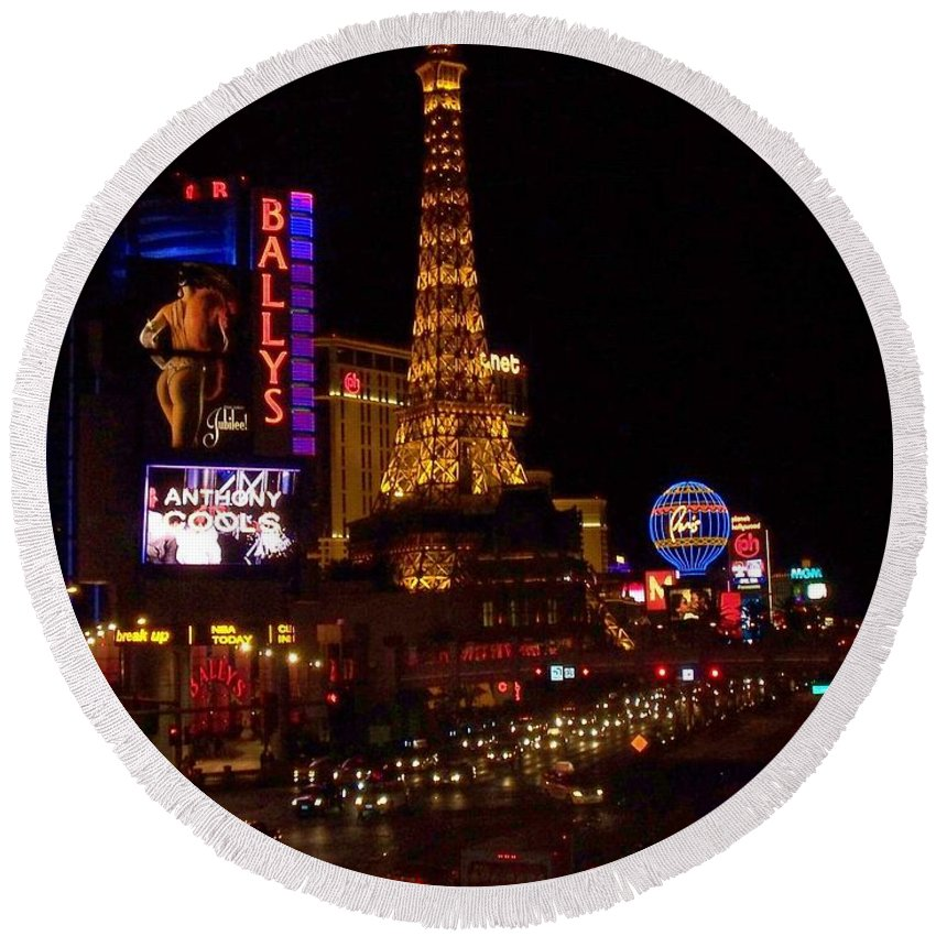 Vegas Round Beach Towel featuring the photograph The Strip At Night 2 by Anita Burgermeister