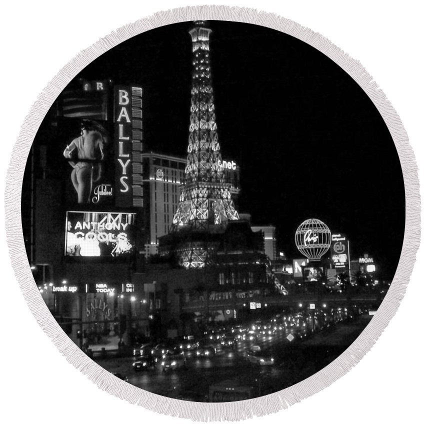 Las Vegas Strip Round Beach Towel featuring the photograph The Strip By Night B-w by Anita Burgermeister