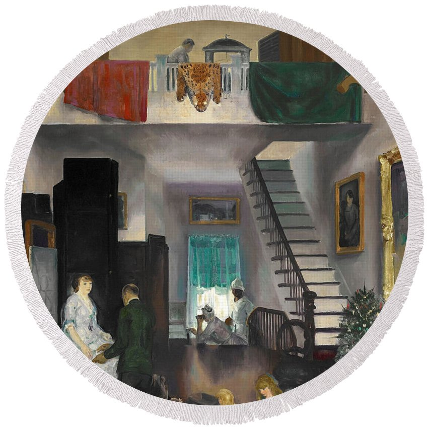 George Bellows Round Beach Towel featuring the painting The Studio by George Bellows