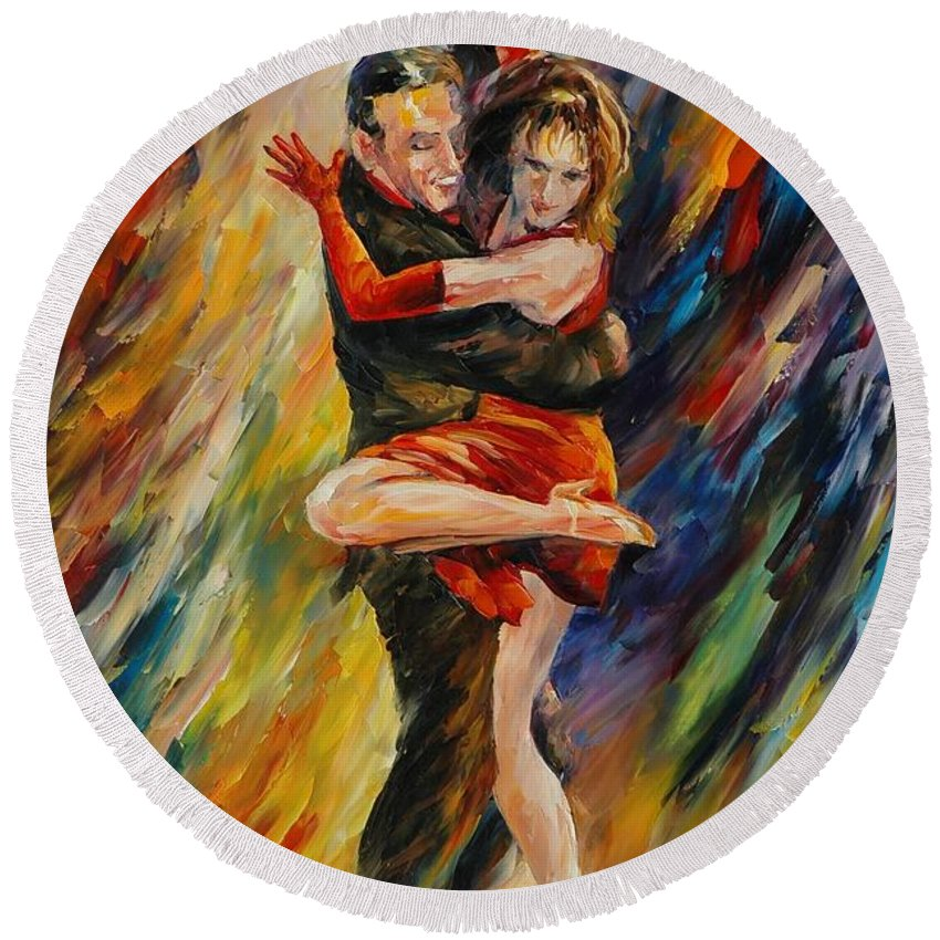 Dance Round Beach Towel featuring the painting The Sublime Tango by Leonid Afremov