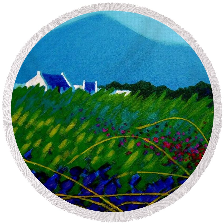 Irish Landscape Round Beach Towel featuring the painting The Sugar Loaf County Wicklow Ireland by John Nolan