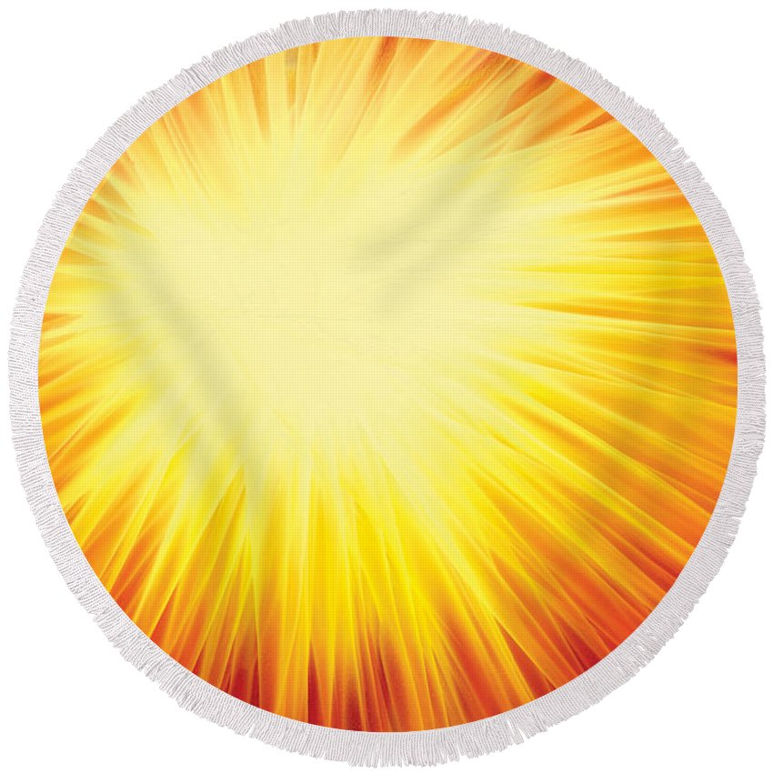 Solar System Round Beach Towel featuring the digital art The Sun by Rabi Khan