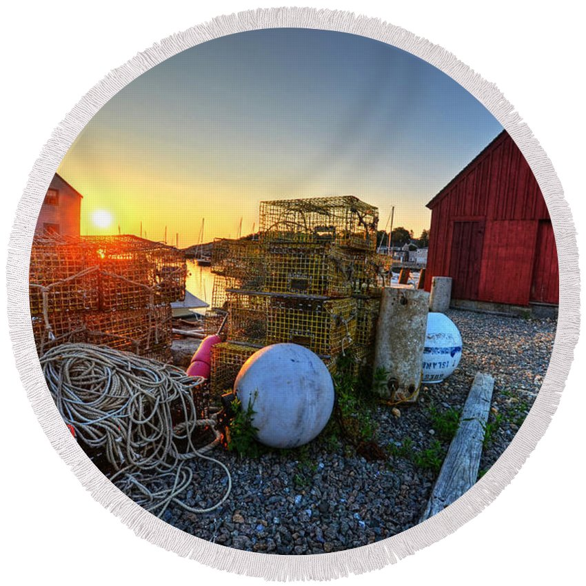 Rockport Round Beach Towel featuring the photograph The Sun Rising By Motif 1 In Rockport Ma Bearskin Neck Lobster Traps by Toby McGuire