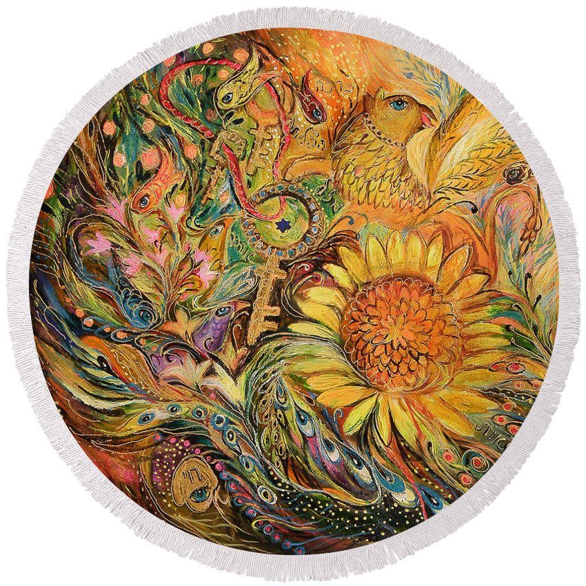 Original Round Beach Towel featuring the painting The Sunflower by Elena Kotliarker