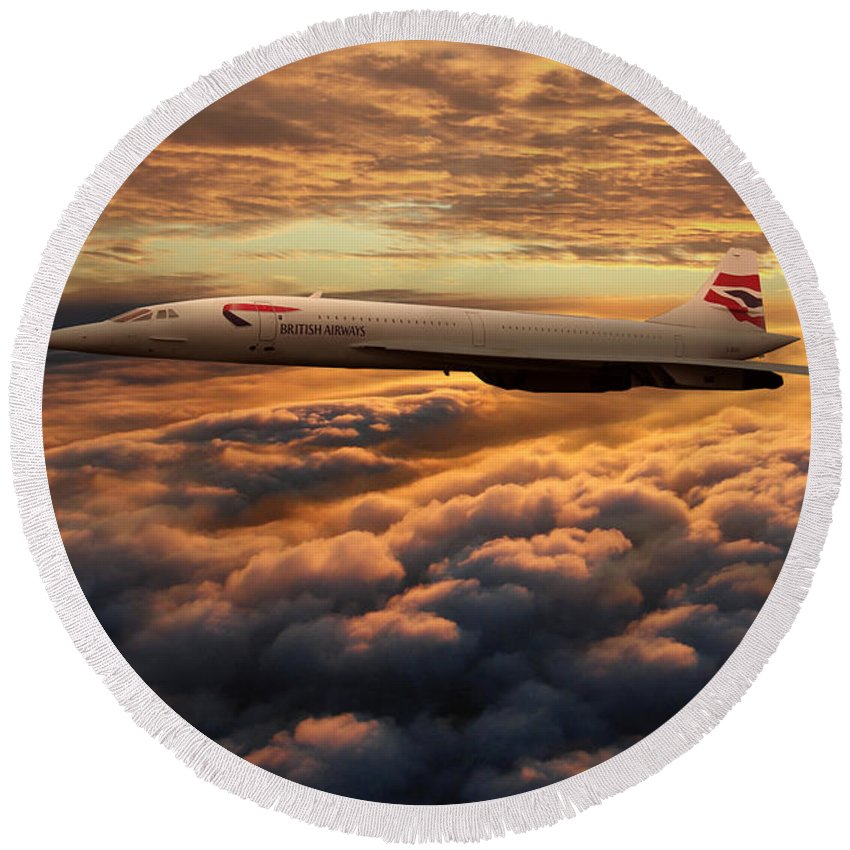 Concorde Round Beach Towel featuring the digital art The Supersonic Concorde by J Biggadike