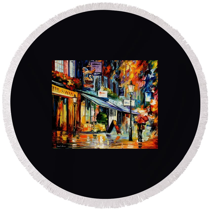 Afremov Round Beach Towel featuring the painting The Swan - London by Leonid Afremov