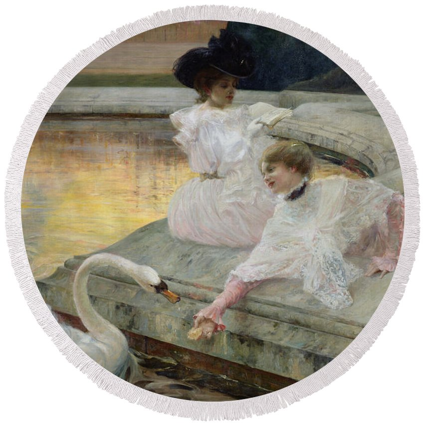 The Swans Round Beach Towel featuring the painting The Swans by Joseph Marius Avy
