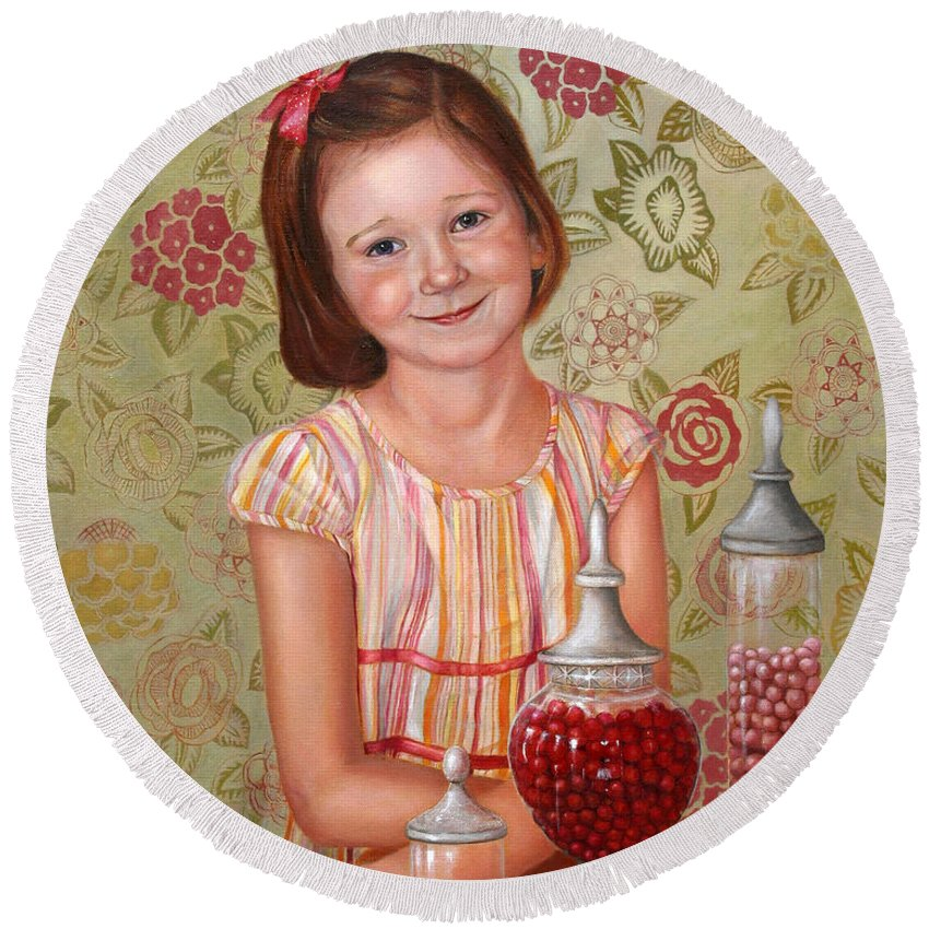 Children Portrait Round Beach Towel featuring the painting The Sweet Sneak by Portraits By NC